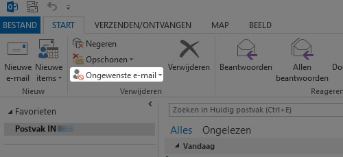 Ongewenste email knop outlook 2007, outlook 2010 en outlook 2013
