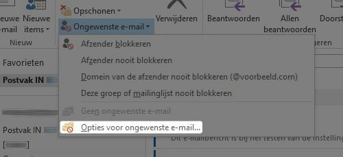 opties voor Ongewenste email knop outlook 2007, outlook 2010 en outlook 2013